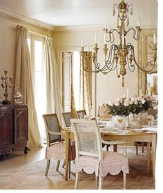 I love the scallops on the dining room chairs, I love the idea of it, then you don't have to break the staple gun out everytime you want to change your look. Dining Room Gerrie Bremermann