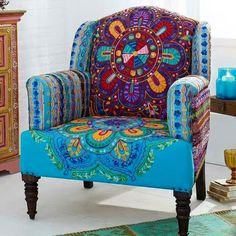 The bohemian / indian inspired print for this Gingar chair is so unique! - Trend Home Dekor Funky Furniture, Painted Furniture, Upholstered Furniture, Bohemian Furniture, Furniture Chairs, Furniture Stores, Furniture Ideas, Home Deco, Deco Boheme