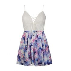 Ally Fashion Lace bust watercolor print skirt skater dress (1.050 UYU) ❤ liked on Polyvore featuring dresses, vestidos, short dresses, print, white day dress, lace skater dress, lace mini dress, watercolor print dress and white lace dress