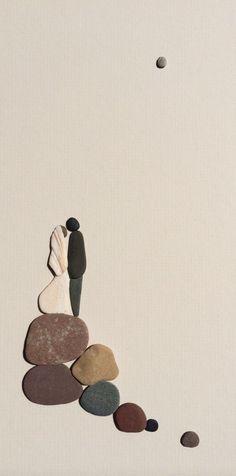 Wedding pebble art of Nova Scotia by sharon nowlan por PebbleArt
