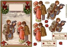 Sharing Christmas Wishes Card Front on Craftsuprint designed by Sandra Carlse - A very festive vintage christmas decoupage card front. There are all the elements on this sheet for you to be able to make up your card front. I have also included 2 sentiment banners