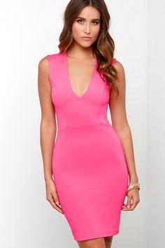Sexy Hot Pink Dress - Bodycon Dress - Sleeveless Dress - $38.00