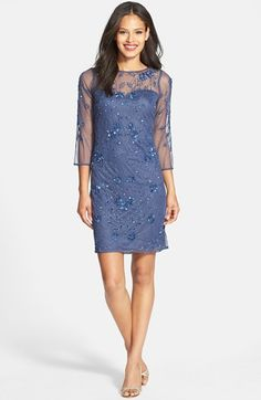 Patra Embellished Illusion Yoke Mesh Dress available at #Nordstrom--mother of the bride dress