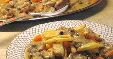 Υλικά 1 κιλό κρέας χοιρινό από λαιμό κομμένο σε κύβους 2 κρεμμύδια μεγάλα 2 καρότα 1 σκελίδα σκόρδο 1 κουτί κονσέρβα μανιτάρια 2 λεμόνια ... Chicken, Meat, Food, Eten, Meals, Cubs, Kai, Diet