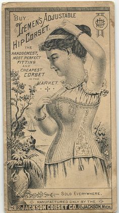 """Buy Lemen's Adjustable Hip Corset"" Trade Card from Jackson Corset Company of Jackson, Michigan"