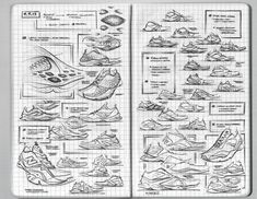 Matt DeAlmeida's New Balance Sketchbook Rendering Techniques, Drawing Techniques, Strate Design, Sneakers Sketch, Afro Punk Fashion, Shoe Sketches, Industrial Design Sketch, Beautiful Sketches, Hand Sketch