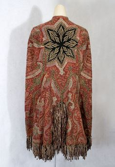 Hand-embroidered Kashmir shawl mantle, 1870s --