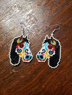 embroidered beads handmade Native jewelry earing Native bead work beetle earrings earrings new series Dance with beetles