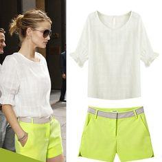 欧美2014春夏新款女装休闲运动套装时尚街头学生潮装上衣T恤短裤
