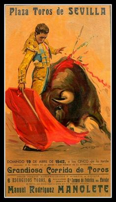 Spain Bullfight Manolete Seville 1942 Travel by BloominLuvly, $9.95