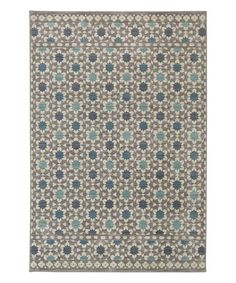 Loving this Gray & Turquoise Lattice Tiles Rug on #zulily! #zulilyfinds
