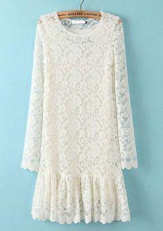 White Long Sleeve Slim Lace Pleated Dress US$35.00
