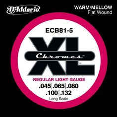 D'Addario ECB81-5 5-String Bass Guitar Strings, Light, 45-132, Long Scale by D'Addario. $32.41. From the Manufacturer                ECB81-5, the 5-string version of D'Addario's best-selling Flatwound bass strings, are known for their warm, mellow tone and smooth polished feel. With the addition of a .132 low B, Chromes deliver a deep, rich low bottom end which makes them the flat wound choice of Jazz, R and Pop musicians. Fits long scale basses with a string scal...