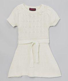 Love this White Sash Sweater Dress - Girls on #zulily! #zulilyfinds