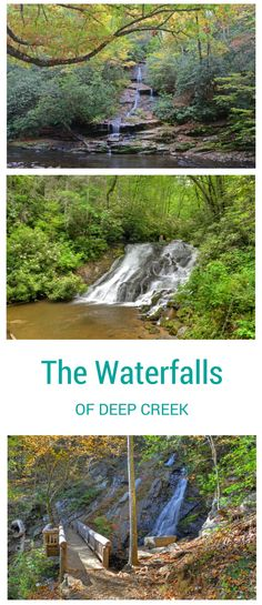 The waterfalls of Deep Creek, Great Smoky Mountains National Park, near Bryson City, NC, include Tom Branch Falls, Indian Creek Falls, and Juneywhank Falls.