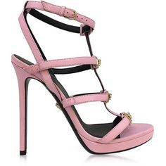 Versace Shoes Pink Leather Sandal w/Light Gold Medusa ($1,050) ❤ liked on Polyvore featuring shoes, sandals, real leather shoes, open toe sandals, versace sandals, versace and leather caged sandals