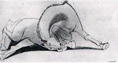 Picasso. Caballo, 10 de Mayo de 1937 Lápiz sobre papel, 24 x 45 cm. Estudio para el Guernica. (Todos los bocetos están expuestos junto al Guernica en el  Museo Reina Sofía de Madrid.)