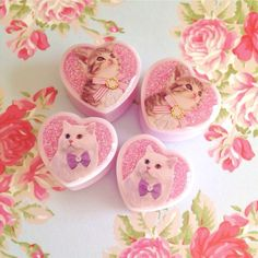"Sarah Lorraine Designs — MADE TO ORDER 20mm, 22mm (7/8"") & 25mm (1"") Kitty sticker and glitter heart shaped plugs"
