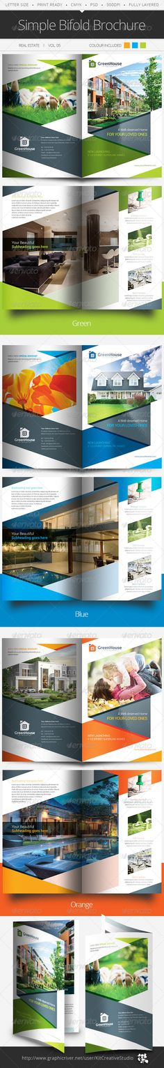Buy Simple Bifold Brochure by kitcreativestudio on GraphicRiver. This simple and generic bifold brochure template perfectly use for real estate businesses. Easily edit to fit your ne. Bi Fold Brochure, Corporate Brochure, Brochure Design, Brochure Template, Branding Design, Indesign Software, Collateral Design, Real Estate Flyers, Cool Business Cards