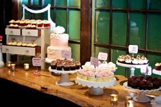 Dessert table wedding- different height stands (love the up-cycled side table for a display stand)