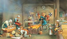 In Viking homes many people had a loom for weaving their own cloth. Cooking pots were hung over the central hearth from a frame. There was an ever present risk of fire, with so much wood and straw about. Q Files Encyclopedia