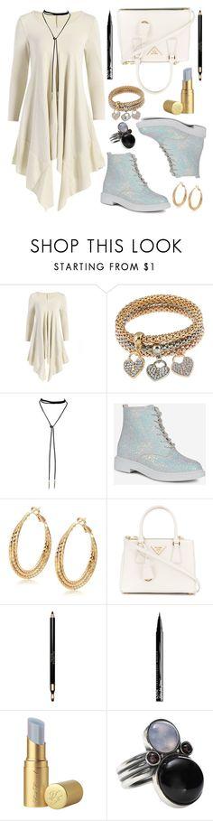 """RG Fashion97"" by sneky ❤ liked on Polyvore featuring Prada, Clarins, NYX, Too Faced Cosmetics and Bottega Veneta"