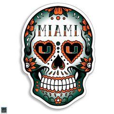 Miami Hurricanes Sugar Skull Decal