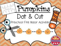 """Your students will love this fall activity!  Students practice pre-writing skills and cutting skills while also having fun!  First, the kids use their BINGO daubers to """"dot"""" the pumpkins.  Then, students cut through the pumpkins following the lines.This packet containsn 6 different dot and cut activities for various levels and abilities of students."""