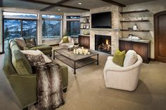 TV Above Fireplace Design Ideas Built In Around Fireplace, Tv Above Fireplace, Fireplace Built Ins, Home Fireplace, Fireplace Remodel, Living Room With Fireplace, Fireplace Design, Living Room Sofa, Fireplace Ideas