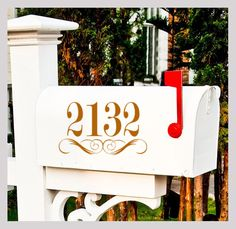 Mailbox Number Decal - One Decal - Street Address Mailbox Vinyl Decal - Number Decals - Wall Decal - 10x6 by HouseHoldWords on Etsy https://www.etsy.com/listing/187386660/mailbox-number-decal-one-decal-street