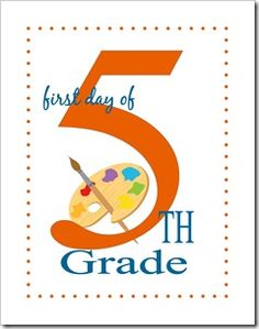 First Day of School Printable - 5th grade