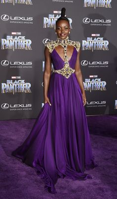 """WOW! Lupita Nyong'o in Versace at the Los Angeles World Premiere of 'Black Panther'. Attendees asked to """"dress royal""""."""