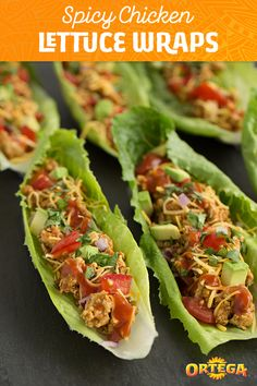 These Chicken Taco Salad Wraps are great to make if you're on a New Year's health kick. The one-two punch of Ortega Taco Sauce and Ortega Taco Seasoning Mix serves up a (lettuce) boatload of flavor. Wrap Recipes, Lunch Recipes, Dinner Recipes, Taco Sauce, Taco Seasoning, Mexican Dishes, Mexican Food Recipes, Chicken Recipes Video, Taco Salads
