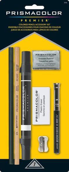 This kit includes 1 Design 3800 Pencil Sharpener, 1 Pencil Extender, 1 Design Vinyl Eraser, 1 Colorless Blender, 1 Art Marker, and a Kneaded Eraser.