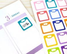 Weight Loss Tracker Sticker, Planner tracking, 28 weight scale decals, rainbow…