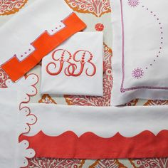 Julia B. Coral hand embroidered linens.