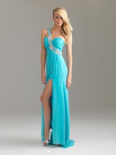 Sheath/Column One Shoulder Sweep/Brush Train Chiffon Light Sky Blue Prom Dresses #USALF133