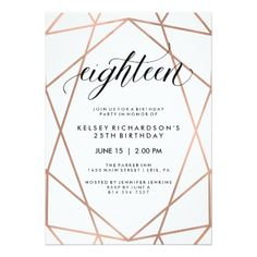 These stylish birthday party invitations feature a faux rose gold geometric pattern on a white background, with modern black typography. 18th Birthday Party, Card Birthday, Birthday Gifts, 25th Birthday Ideas For Her, Birthday Brunch, Brunch Party, Birthday Diy, 50th Wedding Anniversary Invitations, Birthday Party Invitations