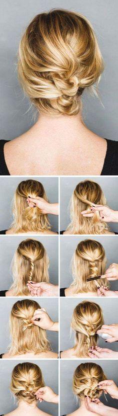 Short Hair Hairstyle with Loose Twisted Braid Low Bun #Hairstyles #Buntutorials #Braidlowbun