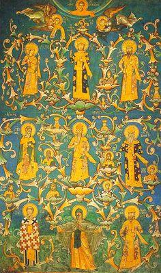 Mittelalterliches Fresko im Kloster Visoki Dečani von etwa 1335. Dargestellt ist ein Stammbaum der Nemanjiden. ◆Kosovo – Wikipedia http://de.wikipedia.org/wiki/Kosovo #Kosovo