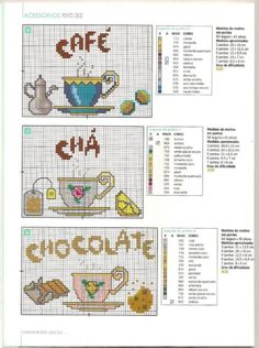 Coffee, tea, and hot chocolate cross stitch chart