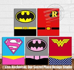 New art gallery party etsy 64 ideas Superhero Canvas, Superhero Wall Art, Superhero Poster, Superhero Party, Toddler Art Projects, Easy Art Projects, Binder Cover Templates, Character Symbols, Paper Flower Art