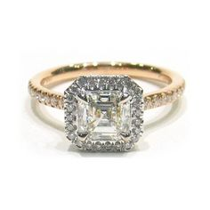 Platinum and Rose Gold Asscher Cut Diamond Engagement Ring with Micro Pave Set Diamonds