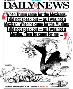 The New York Daily News has moved on from its gun control focus to calling out GOP frontrunner Donald Trump. NY Daily News Goes After Trump In Amazing Page One Cartoon And Nazi-Era Poem.