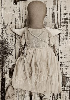 Simple Prim Angel Doll Antique Dress Folk Art by VeenasMercantile, $70.00