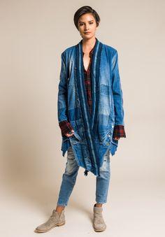 Greg Lauren Long Vintage Denim/Indigo Stripe Jacket in Denim Blue Redone Jeans, Cool Jackets, Denim Jackets, Jean Jackets, Recycled Denim, Recycled Art, Altered Couture, Denim Patchwork, Striped Jacket