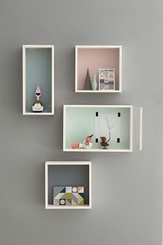 use boxes as shelves to exhibit our treasures - from ferm living