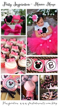 Adorable Minnie Mouse Party Ideas & Inspiration  www.frostedevents.com Hot Pink and black - Girls birthday party theme @frostedevents
