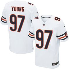 Nike Elite Willie Young White Men's Jersey - Chicago Bears #97 NFL Road