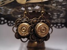 40 Smith Wesson FEDERAL Brass Bullet Casing Floral Earrings  #Handmade #Stud